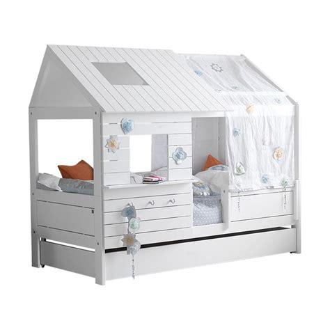 mobilier chambre fille lit cabane bas silversparkle laqué blanc acheter en