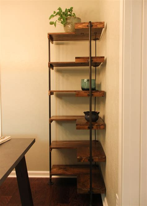 making  rustic industrial  standing corner shelf set laura