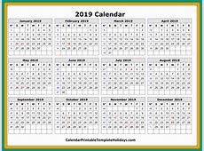2019 Calendar Printable Template Holidays PDF Word Excel