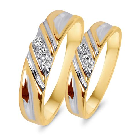1 10 ct t w diamond his and hers wedding rings 10k yellow gold my trio rings wb508y10k