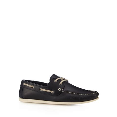 Boat Shoe Basket by Herring Mens Navy Leather Lace Up Boat Shoes From