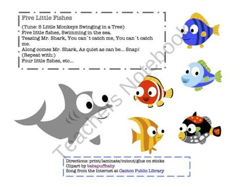 five fishes from preschool printables on 111 | 1554ba0a35b5821e9e0289f493b585a3 preschool songs preschool printables