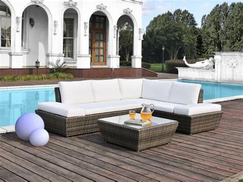 Salon de jardin CASSIS en ru00e9sine tressu00e9e un angle (5 places) et une table basse - gris cu00e9rusu00e9 ...