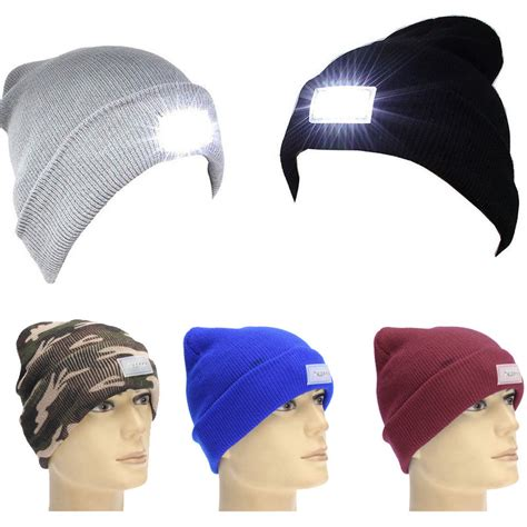 beanie with light new 5 led light cap knit beanie hat with 2 batteries for