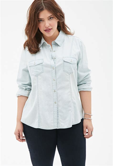 lyst forever 21 plus size classic chambray shirt in blue