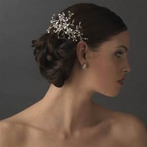 Elegant Rhinestone Swarovski Floral Spray Bridal Hair Comb