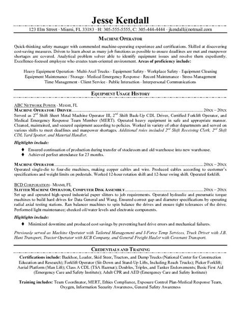 free machine operator resume exle