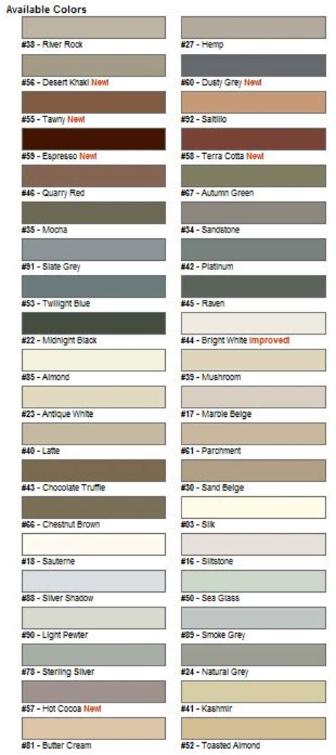 tec sanded grout color chart car interior design
