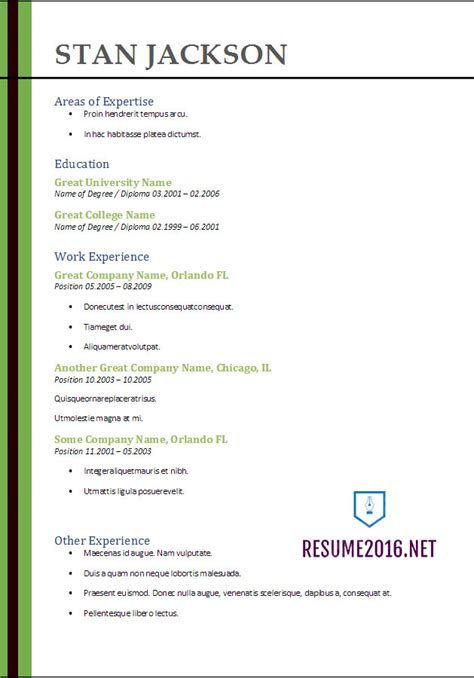 Current Resume Format For Freshers 2017 by Resume Format 2017 20 Free Word Templates