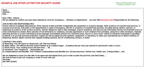 appointment letter format  security guard google