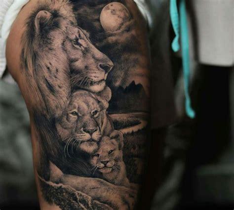 lion family tattoo  upper arm