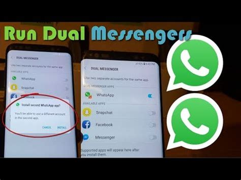 install dual messengers galaxy s9 s8 for whatsapp snapchat