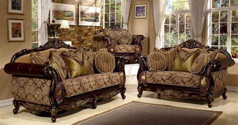 antique style 3 pieces living room sofa set by