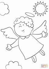 Coloring Angel Pages Cute Printable sketch template