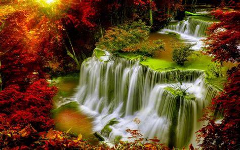 Cascade Falls Autumn Forest Red Leaves Sunlight Desktop Hd Wallpaper For Mobile Phones Tablet