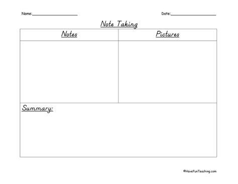 note taking worksheets have fun teaching