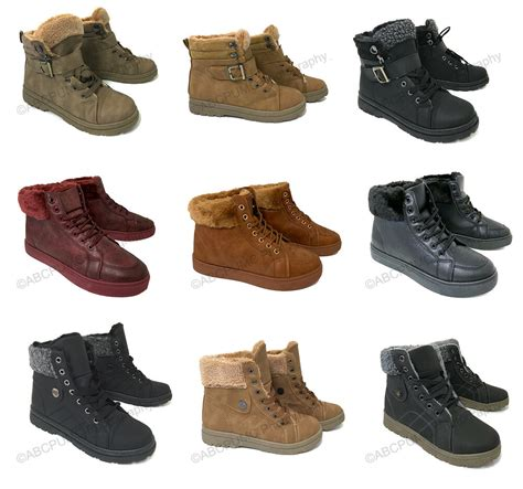 womens sneaker boots winter high top lace  fur combat