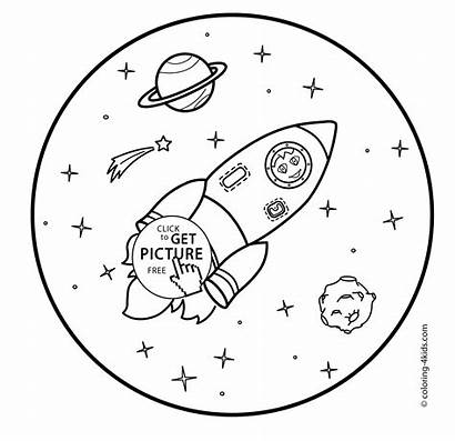 Space Coloring Rocket Pages Printable Cat Drawing