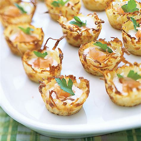 cheap easy canapes potato nests with sour and smoked salmon smoked