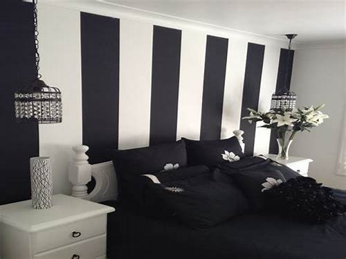 The Walls Are Painted In Black #Black #And #White #Striped #Wallpaper #Bedroom #Ideas #Modern