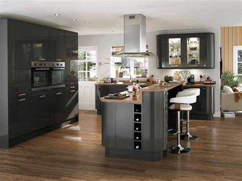 cuisine design avec ilot decoration cuisine noir et gris