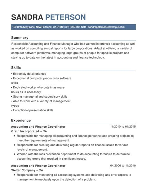 accounting finance functional resume samples examples