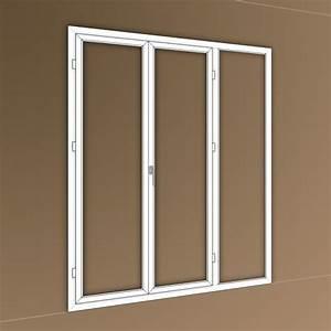 Porte fenetre pvc 3 vantaux dont 1 fixe lateral 1000x1000 for Porte fenetre fixe