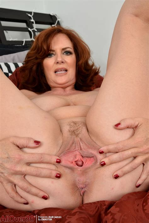 Natural Redhead Andi James Bares Saggy Tits And Spreads