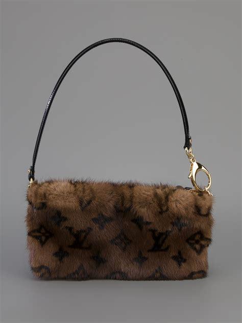 louis vuitton mink fur shoulder bag  brown lyst