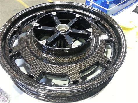 Motorbike Alloy Wheels Coated In Carbon Fibre Painted Black