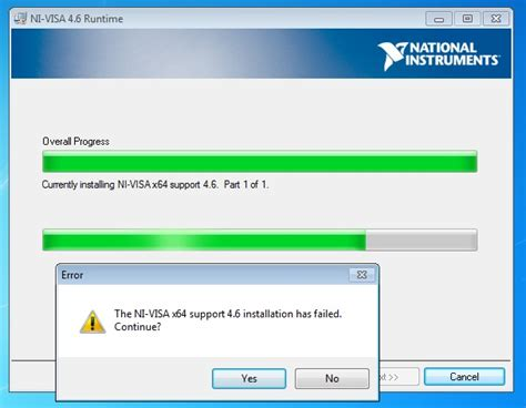 Solved: ni-visa installation freezing on 64 bit windows 10.