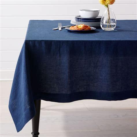 helena indigo blue linen tablecloth crate  barrel