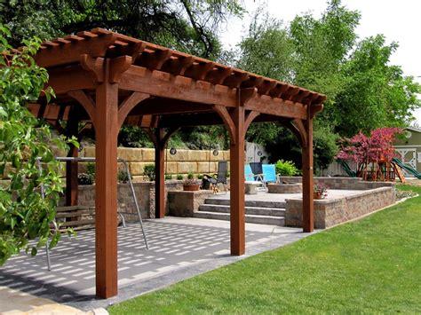 pergola adossee bois kit 12 rich sequoia landscape ideas arbors awnings bridge decks pergolas western timber frame