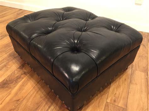 sold ralph lauren black leather tufted ottoman modern