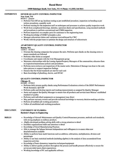 quality control inspector resume samples velvet jobs