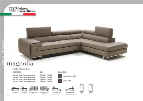 Poltrone E Sofa 1 Week Collection : Magnolia Premium Leather Sectional With Adjustable