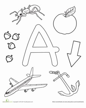 a is for worksheet education com