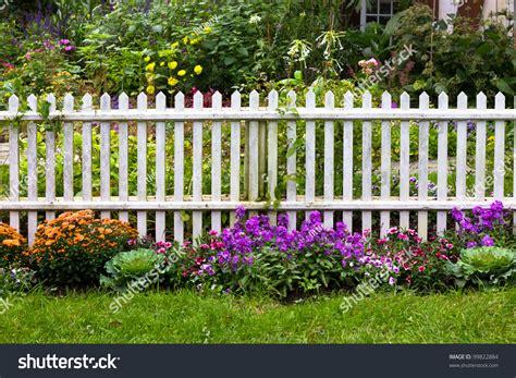 green garden fence white picket fence pretty flowers yard stock foto 99822884 1374