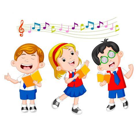 Niños de la escuela cantando Descargar Vectores Premium