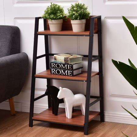 Leaning Bookcase Walmart by Costway 3 Tier Ladder Storage Book Shelf Wall Bookcase