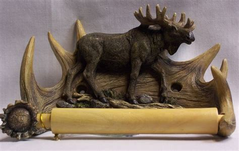 mooseantler toilet paper holder rustic outdoor cabin