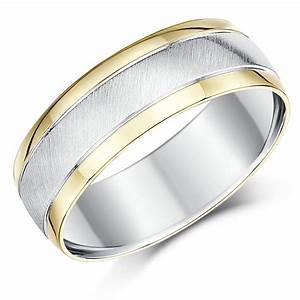 7mm Silver And 9ct Yellow Gold Two Tone Wedding Ring Band