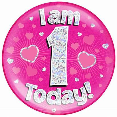 Am Today Badge Pink Holographic Birthday Dot