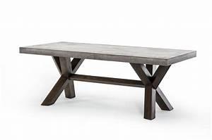 Rectangular Concrete and Acacia Base Dining Table Houston