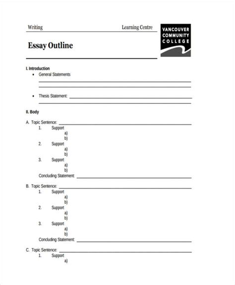 White Paper Outline Template by 26 Exles Of Essay Outlines