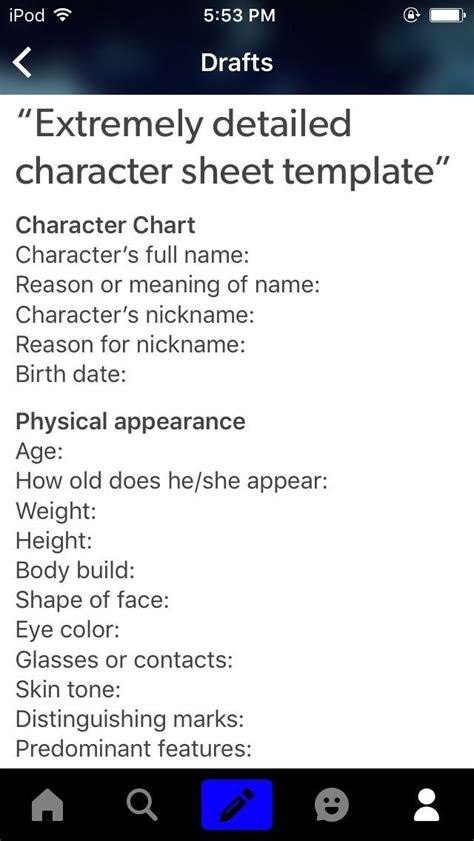 tip write  character descriptions