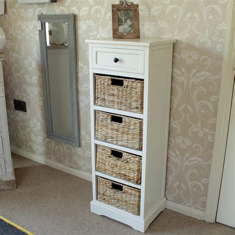 Bathroom Shelves With Baskets cream wicker storage unit one drawer four baskets
