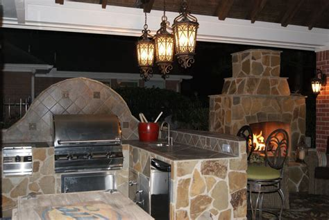 Gable Roof Patio Cover With Outdoor Kitchen & Fireplace