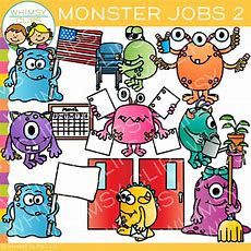 Monster Classroom Jobs Clip Art  Set Two , Images & Illustrations  Whimsy Clips
