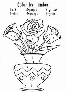 color by number flower coloring pages - coloring activity pages flowers in a vase color by